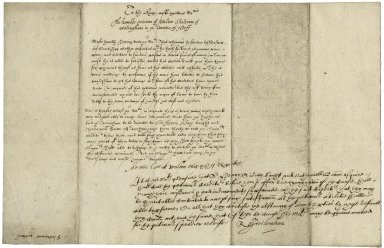Petition of Walter Sheltram to James I./Bacon, Nathaniel and Sir Henry Sidney. Order from James I (signed by Roger Wilbraham) to mediate in the settling of a petition.
