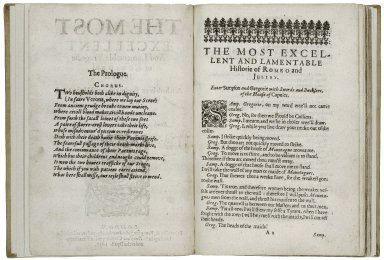 [Romeo and Juliet] The most excellent and lamentable tragedie of Romeo and Juliet. As it hath been sundry times publikely acted by the Kings Majesties Servants at the Globe. Written by W. Shake-speare.