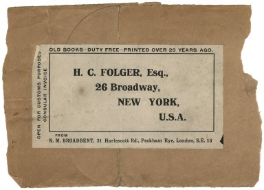 Mailing label to H. C. Folger, Esq. 26 Broadway, New York USA. Old books, duty free, printed over 20 years ago
