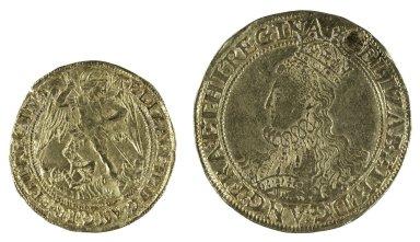 Elizabethan gold Angel next to Elizabethan gold Pound