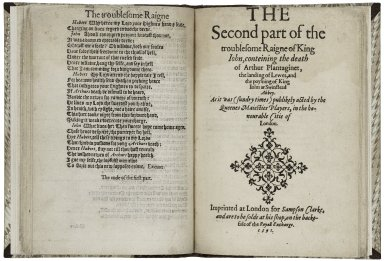 [The] troublesome raigne of John King of England, with the discouerie of King Richard Cordelions base sonne (vulgarly named, the bastard Fawconbridge): also the death of King Iohn at Swinstead Abbey. As it was (sundry times) publikely acted by the Queenes Maiesties Players, in the honourable citie of London.