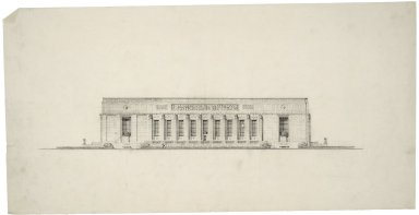 "Architectural Drawing of Proposed Elevation: [E. Capitol St. Elevation], 28.5""x14.5"", 1 rectangular bas-relief and 2 small round reliefs along top."