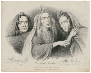 """G.J. Bennett, Drinkwater Meadows, W.H. Payne [as the three witches in Shakespeare's] Macbeth ... """"A drum! A drum! Macbeth doth come!"""" [graphic] / [Richard James Lane]."""