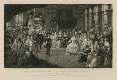 King Charles 2nd and Elizabeth, Princess Palatine, his cousin, dancing at the Hague [graphic] / from the original by C. Janssens ; G.P. Harding F.S.A. del. ; W. Greatbach sc.