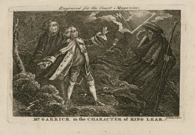 Mr. Garrick in the character of King Lear [in Shakespeare's King Lear] [graphic] / engraved for the Court magazine ; J. Hakewill sc.