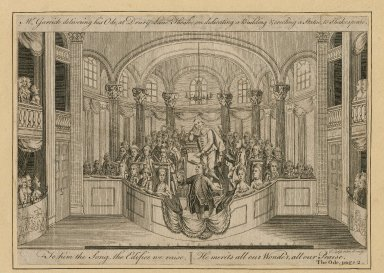 Mr. Garrick delivering his Ode at Drury Lane Theatre on dedicating a building & erecting a statue to Shakespeare ... [graphic] / J. Lodge, delin. et sculp.
