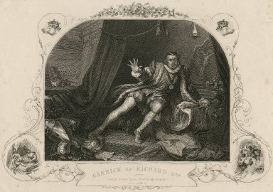 """Garrick as Richard 3rd, """"Give me another horse, bind up my wounds"""", act 5, scene 3 [graphic] / Hogarth pinxt. ; Portbury sc."""