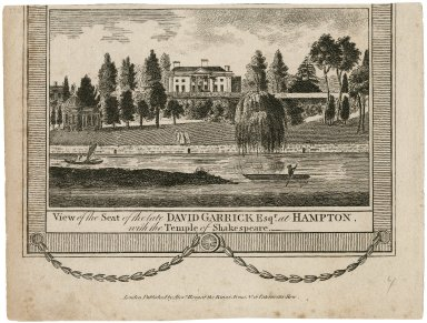 View of the seat of the late David Garrick esqr. at Hampton with the Temple of Shakespeare [graphic]