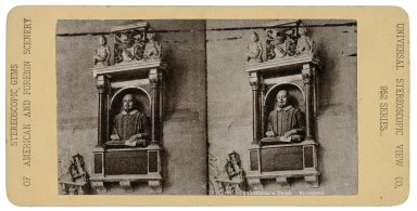 Shakespeare's tomb, Stratford [i.e. Shakespeare bust in Trinity Church] [graphic] / Universal Stereoscopic View Co.