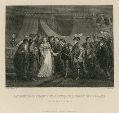 Catherine of France presented to Henry V of England (at the treat of Troy) [graphic] / T. Stothard R.A. [pinxt.] ; J. Rogers [sculp.].