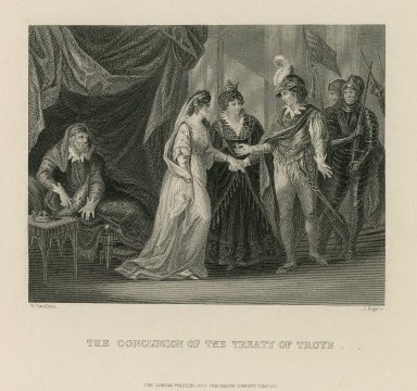 [Henry V giving a ring to Catharine at] The conclusion of the treaty of Troye [graphic] / W. Hamilton [pinxt.] ; J. Rogers [sculp.].