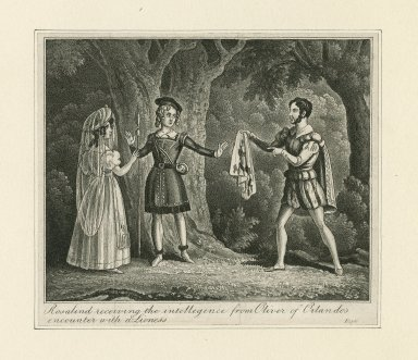 Rosalind receiving the intelligence from Oliver of Orlando's encounter with a lioness [act IV, scene 3] [graphic].