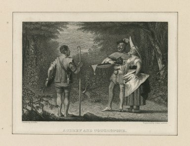 Audrey and Touchstone [As you like it, act V, scene 1] [graphic] / painted by R. Leslie ; engraved by Alex. Lawson.