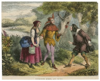 Touchstone, Audrey, and Clown, [As you like it, act V, scene 1] [graphic] / T.H. Nicholson ; C.W. Sheeres.