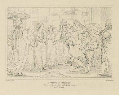 Comedy of errors: Merchant, Angelo, Lady Abbess, Adriana, &c. [graphic] : act V, scene 1 / Rigaud, del. ; Starling, sc.