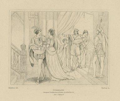 Cymbeline: Imogen, Posthumus, Queen, Cymbeline, &c., act I, scene II [i.e., 1.] [graphic] / Hamilton, del. ; Starling, sc.