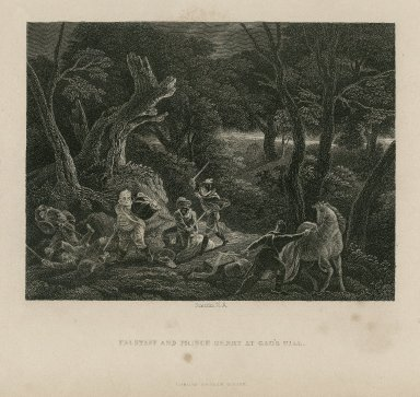 Falstaff and Prince Henry at Gad's Hill, [Act II, scene 2, King Henry IV, 1] [graphic] / Smirke, R.A.