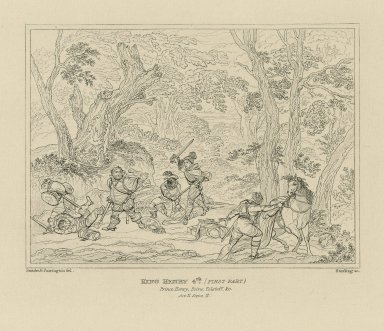 King Henry 4th [first part], Prince Henry, Poins, Falstaff &c., act II, scene II [graphic] / Smirke & Farrington [sic], del. ; Starling, sc.
