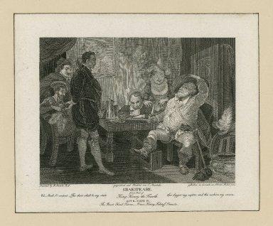 First part of King Henry the fourth, act II, scene IV, the Boar's head tavern, Prince Henry, Falstaff, Poins &c. [graphic] / painted by R. Smirke ; gezeichnet und radiert von C. Meichelt ; gestochen in Lörrach von J.J. von Mechel jun.