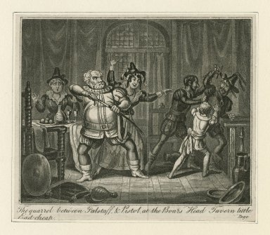 [King Henry IV, part 2, act II, scene 4], the quarrel between Falstaff & Pistol, at the Boars Head Tavern little East-cheap [graphic].