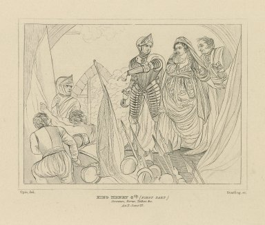 King Henry 6th, (first part), Countess, Porter, Talbot &c., act II, scene III [graphic] / Opie, del. ; Starling, sc.