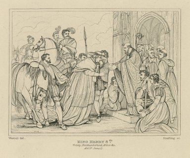 Cardinal Wolsey entering the Abbey of Leicester in Shakespeare's King Henry VIII, act IV, scene 2 [graphic] / R. Westall ; A.H. Payne.
