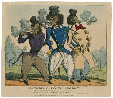 Monkeys puffing cigars!! New customs, though they be never so ridiculous... Shakespear [graphic] / Marks, fec.