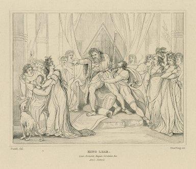 King Lear. Lear, Goneril, Regan, Cordelia, &c., act 1, scene 1 [graphic] / Fuseli, del. ; [William Francis] Starling, sc.