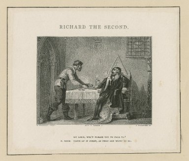 Richard the Second, act V, scene V : My Lord, wil't please you to fall to? K. Rich: Taste of it first, as thou art wont to do [graphic] / H. Thompson pinxt. ; J. Thompson sc.