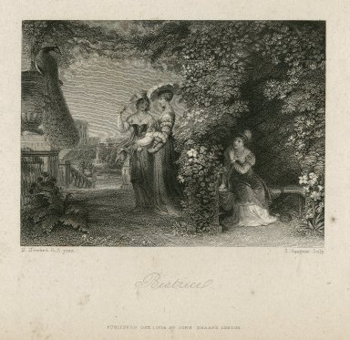 Beatrice, [Much ado about nothing, III, 1] [graphic] / H. Howard, R.A. pinx. ; S. Sangster, sculp.