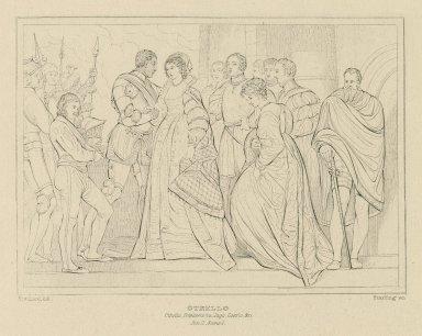 Othello, Othello, Desdemona, Iago, Cassio, etc., act II, scene 1 [graphic] / Stothard, del. ; Starling sc.