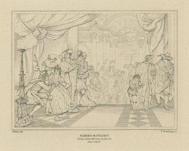 Romeo & Juliet, Romeo, Juliet, Mercutio, guests &c., act I, scene V [graphic] / Miller, del. ; T. Starling, sc.