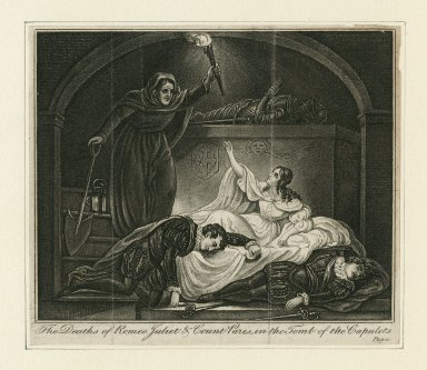 The deaths of Romeo, Juliet & Count Paris in the tomb of the Capulets [act V, scene 3] [graphic].