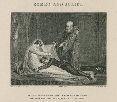 Romeo and Juliet, act V, scene III, Friar: Come, go, good Juliet [graphic] / R. Westall, R.A. pinxt. ; J. Thompson sc.