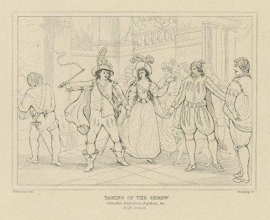 Taming of the shrew, Petruchio, Katharina, Baptista, &c., act III, scene II [graphic] / Wheatley del. ; Starling sc.