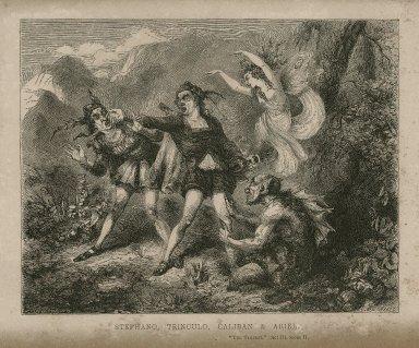 Stephano, Trinculo, Caliban & Ariel, The tempest, act III, scene II [graphic] / T.H. Nicholson ; C.W. Sheeres.