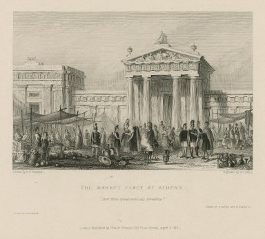 """The market place at Athens, """"Dost thou speak seriously Servillius?"""" Timon of Athens, act 3, scene 2 [graphic] / drawn by G.F. Sargent ; engraved by J. C. Fenn."""