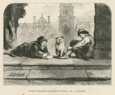 Speed reading Launce's letter : [two gentlemen of Verona, act III, scene 1] [graphic] / J. Gilbert ; W. Thomas, sc.