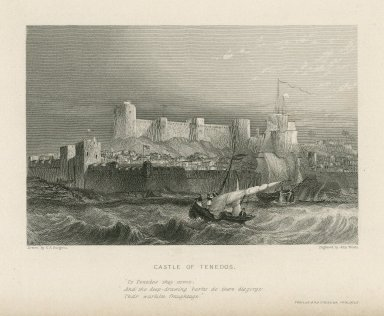 """Castle of Tenedos, """"To Tenedos they come ... """" Troilus and Cressida, prologue [graphic] / drawn by G.F. Sargent ; engraved by John Woods."""