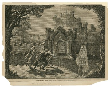 Ghost scene in the first act of Hamlet at Booth's Theatre [graphic] : [act I, scene 2, Edwin Booth as Hamlet] / Grey-Parker.
