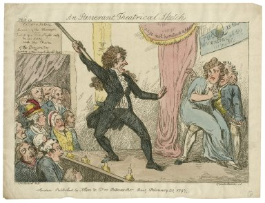 An itinerant theatrical sketch [graphic] / Woodward del. ; Cruikshanks sp.