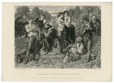 """Orlando and the wrestler, - """"As you like it"""" [act I, scene 2] from the picture in the collection of E. L. Betts, Esq., Preston Hall, Kent [graphic] / D. Maclise, R. A. pinxt. ; C. W. Sharpe, sculpt."""