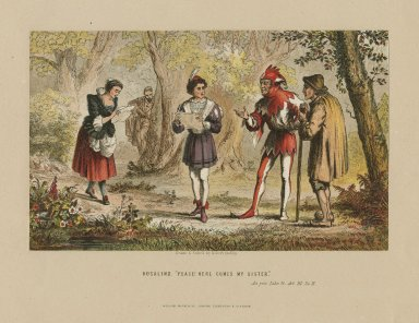 """Rosalind: """"Peace! Here comes my sister"""", As you like it, act III, sc. 2 [graphic] / drawn & etched by Robert Dudley."""