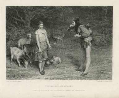 Touchstone and Audrey, [As you like it, act III, scene 3], from the picture in the collection of C. Moxon, esq. Kensington [graphic] / John Pettie, A.R.A. pinxt. ; Charles Cousen, sculpt.
