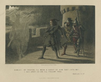 """Hamlet: """"By Heaven, I'll make a ghost of him that lets me! ... I'll follow thee"""", Hamlet, act I, sc 4 [graphic] / drawn & etched by Robert Dudley."""