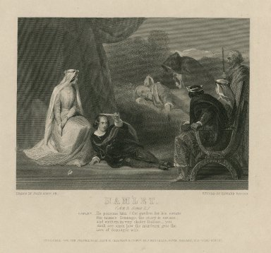 Hamlet, (act 3, scene 2) ... He poisons him i' the garden for his estate...the love of Gonzago's wife [graphic] / drawn by John Absolon ; etched by Eward Finden.