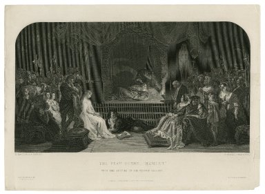 The play scene - Hamlet [act III, scene 2] [graphic] / D. Maclise, R.A. painter ; C. Rolls, engraver.