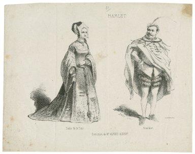 Hamlet, costumes de la Cour ... [graphic] / Top, del. ; costumes designed by Mr. Alfred Albert.