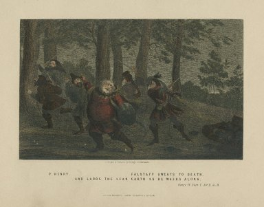 Henry IV, part I, act II, sc. II, P. Henry, Falstaff sweats to death, and lards the lean earth as he walks along [graphic] / drawn & etched by George Cruikshank.