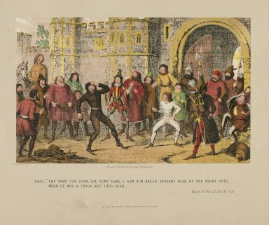 """Henry IV, part II, act III, sc. II, Shal.: """"The same Sir John, the very same, I saw him break Skogan's head at the court gate, when he was a crack not thus high"""" [graphic] / drawn & etched by George Cruikshank."""